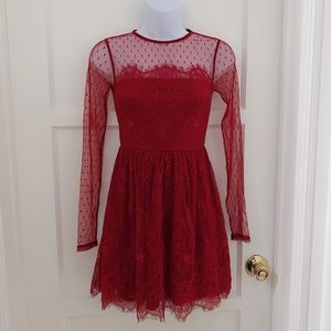 Express lady red lace long sleeve mini dress